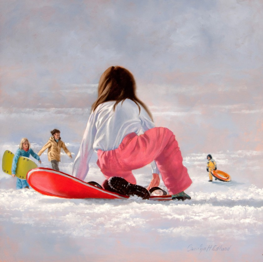 Carolyn Edlund Sledding 2013FL03 10x10 oil