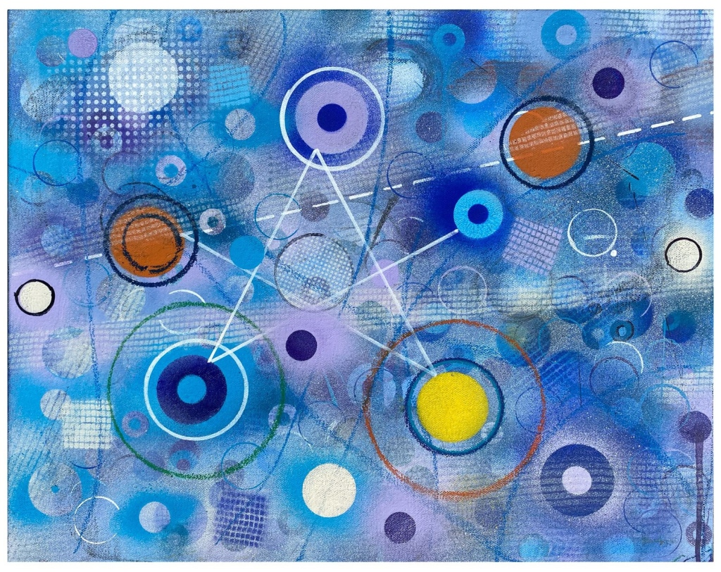 Abstract painting featuring blue